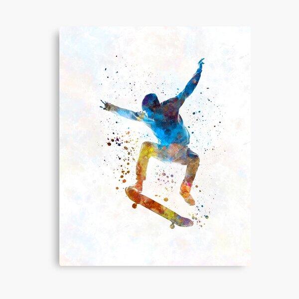 Man skateboard 01 in watercolor Canvas Print