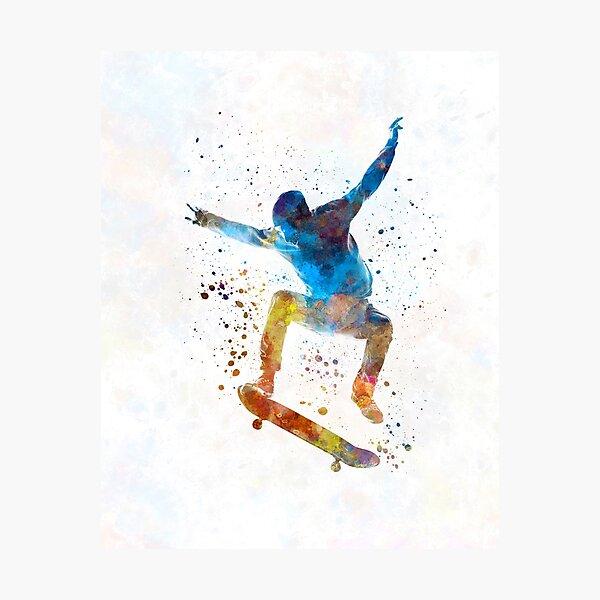 Man skateboard 01 in watercolor Photographic Print
