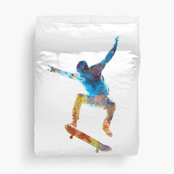 Skateboard homme 01 à l'aquarelle Housse de couette