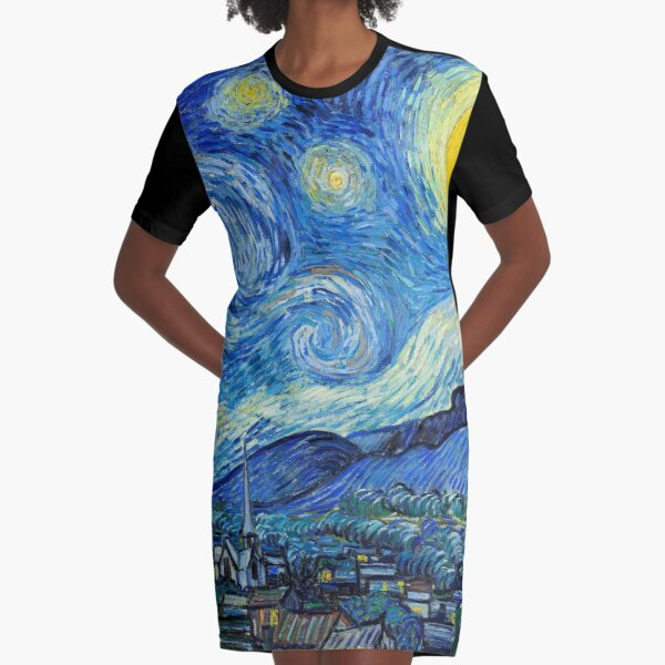 1889-Vincent van Gogh-The Starry Night-73x92 Graphic T-Shirt Dress
