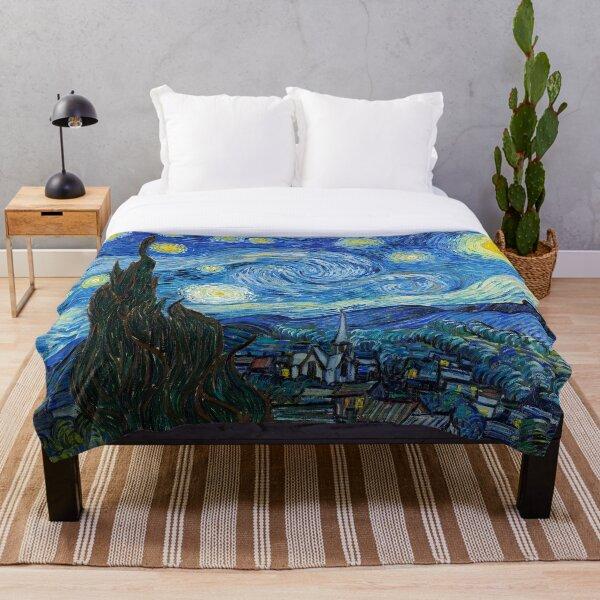 1889-Vincent van Gogh-The Starry Night-73x92 Throw Blanket