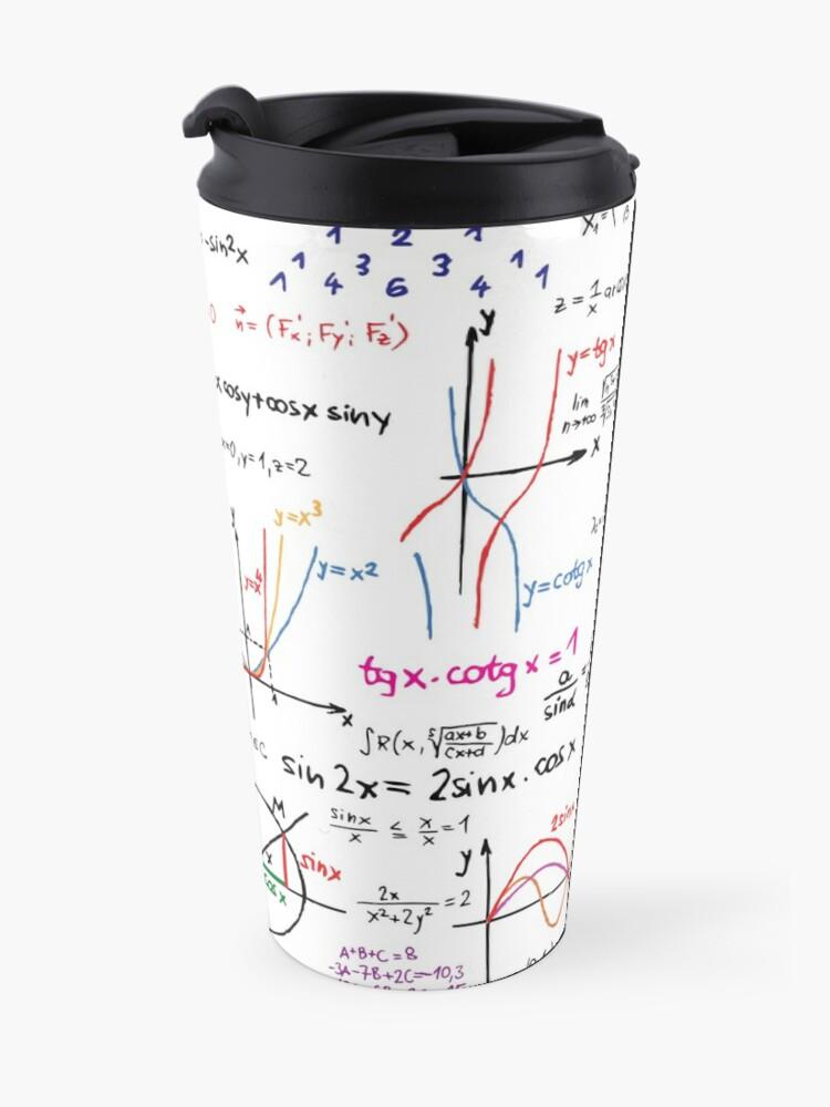 Alternate view of Mathematics Formulas Numbers  Travel Mug
