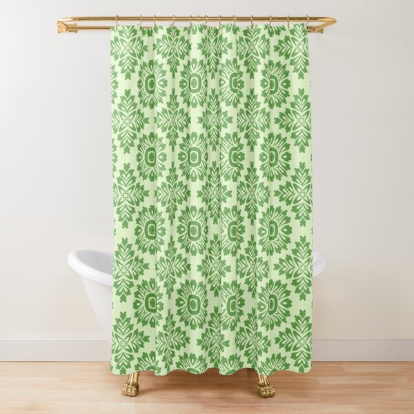 Flower ornament baroque light green 21102020 in Big Shower Curtain