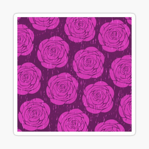 Purple Rose Woodcut Sticker