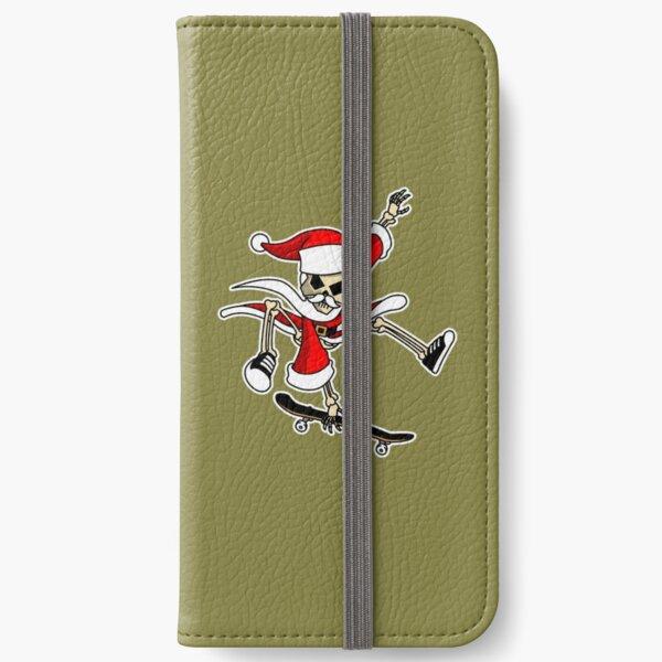 Christmas Skateboarding Santa Skeleton Zombie  iPhone Wallet