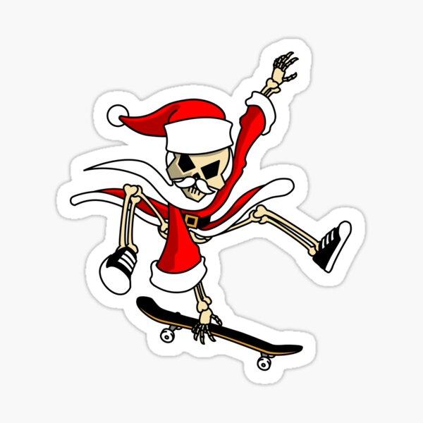 Christmas Skateboarding Santa Skeleton Zombie  Sticker