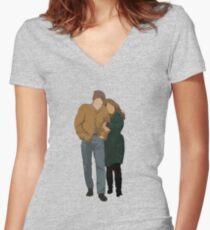Minimalist Freewheelin' Bob Dylan Women's Fitted V-Neck T-Shirt