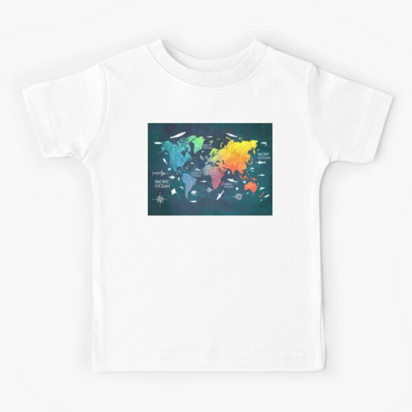 Oceans Life World Map colored Kids T-Shirt