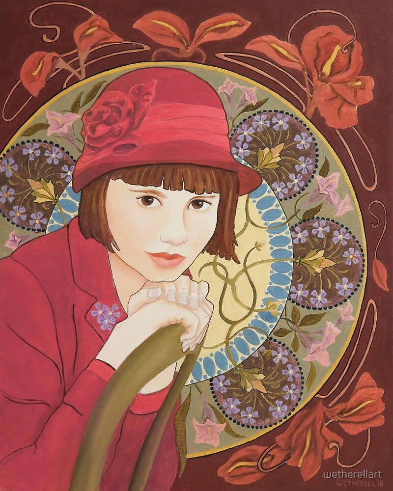 Painting of a Girl in a Red Hat in the style of Alphonse Mucha by wetherellart