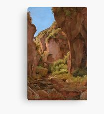 Louis Gurlitt (Altona Naundorf bei Schmiedeberg)  Plein-air Study of a Gorge, Sorrento,  Canvas Print