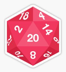 Red d20 Sticker