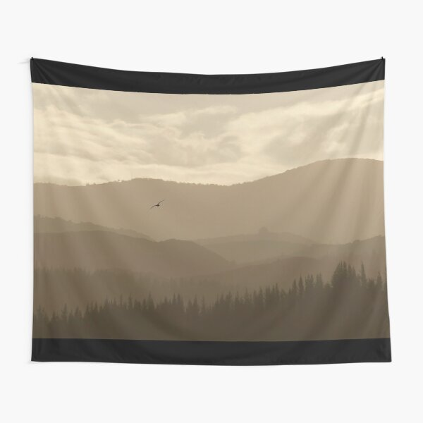 Forest Sky Mountain Climb Landscape Art Tapestry