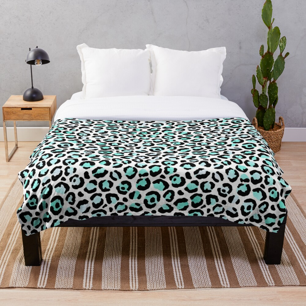 Leopard Print, Turquoise and Black Throw Blanket
