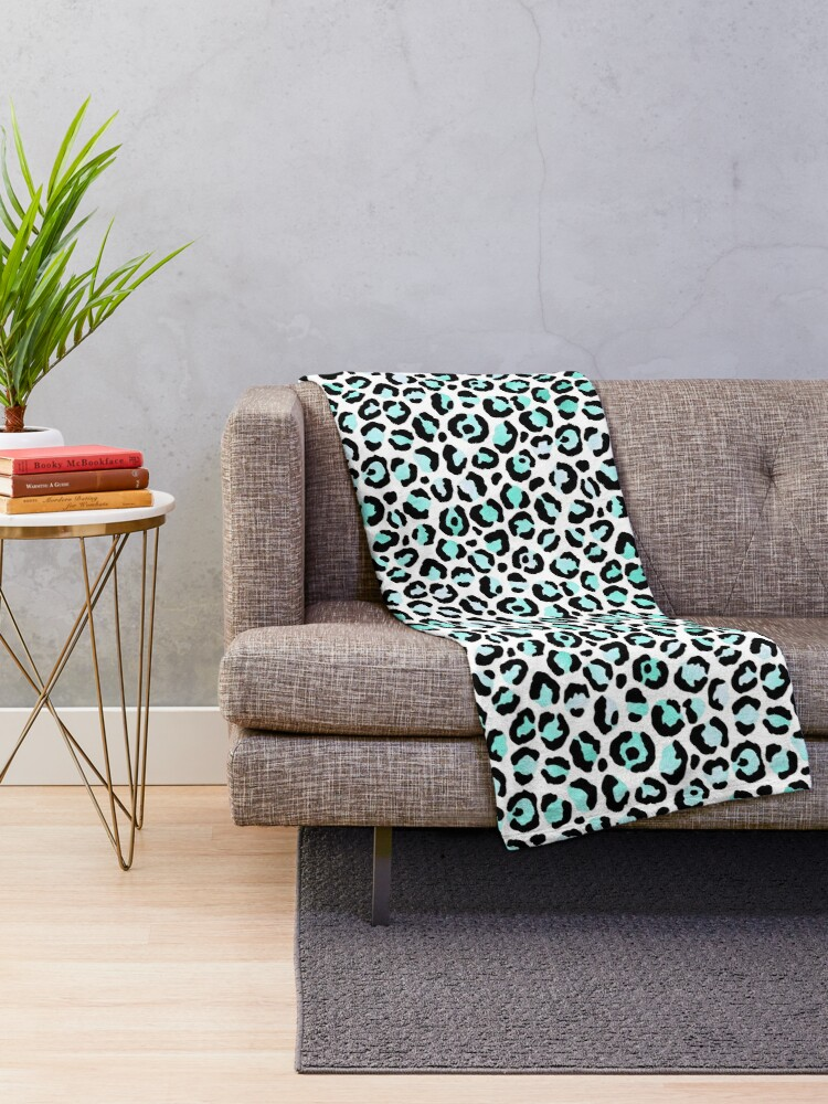 Alternate view of Leopard Print, Turquoise and Black Throw Blanket