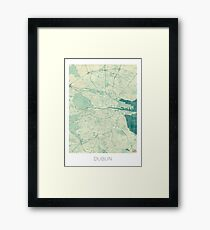Dublin Map Blue Vintage Framed Print