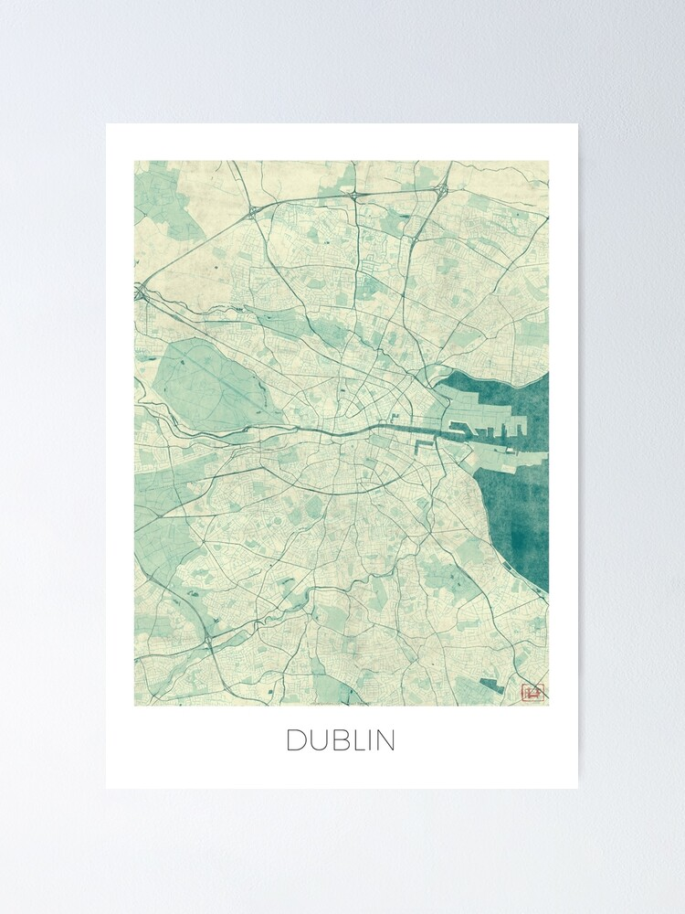 Alternate view of Dublin Map Blue Vintage Poster