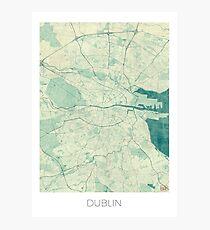 Dublin Map Blue Vintage Photographic Print