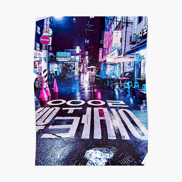 Rainy Street Seoul Poster