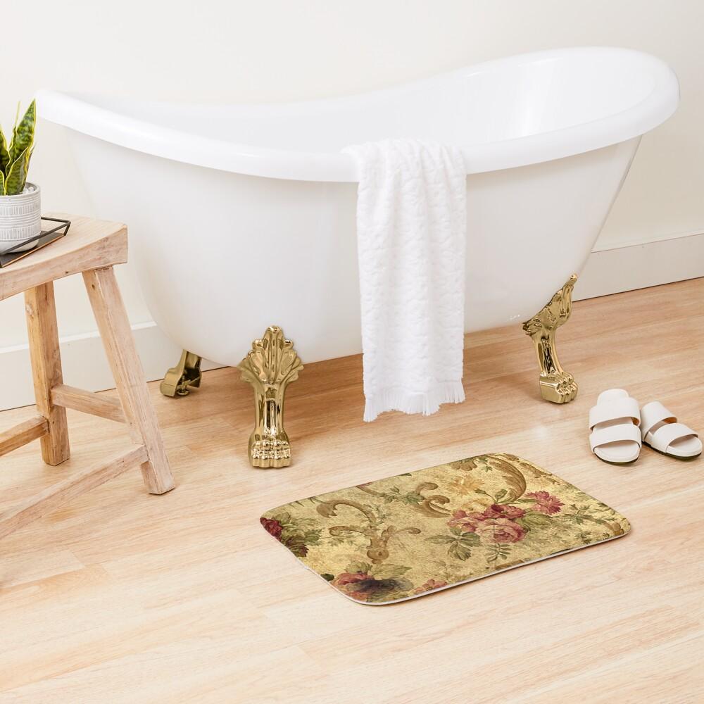 Vintage,tapestry,floral,elegant,victorian,rustic,grunge,elegant,chic Bath Mat