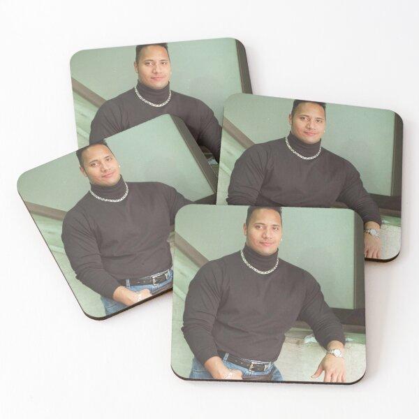 "Dwayne ""The Rock"" Johnson: Classic 90's turtleneck photo Coasters (Set of 4)"