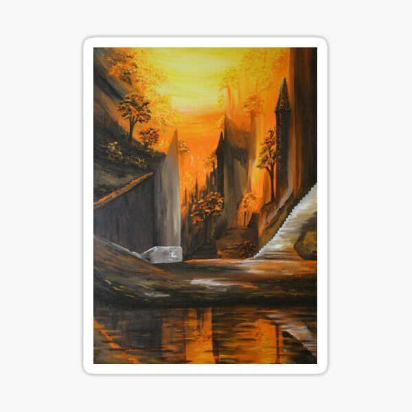 Painting of a surreal city with reflections of water in orange-brown tones Sticker