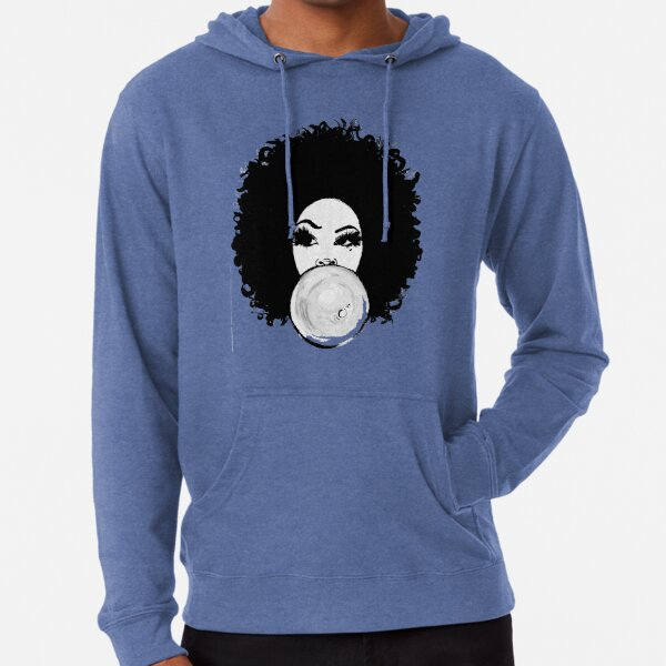 Curly Afro Pretty Girl Black Hair Bubble Gum Poppin T-Shirt Tees Lightweight Hoodie