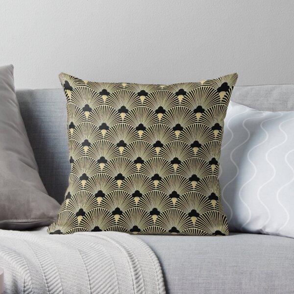 Art deco, fan pattern, vintage,1920 era, gold,black,elegant,chic,The Great Gatsby,modern,trendy,girly Throw Pillow
