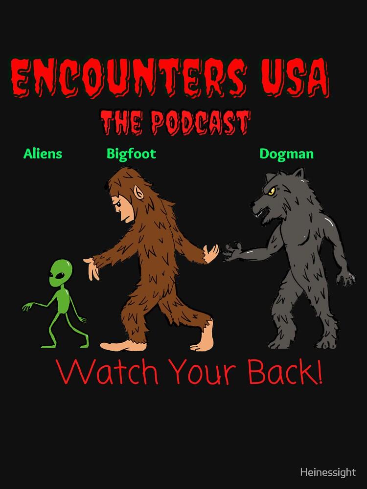 Alien, Bigfoot and Dogman Original Heinessight Merchandise by Heinessight