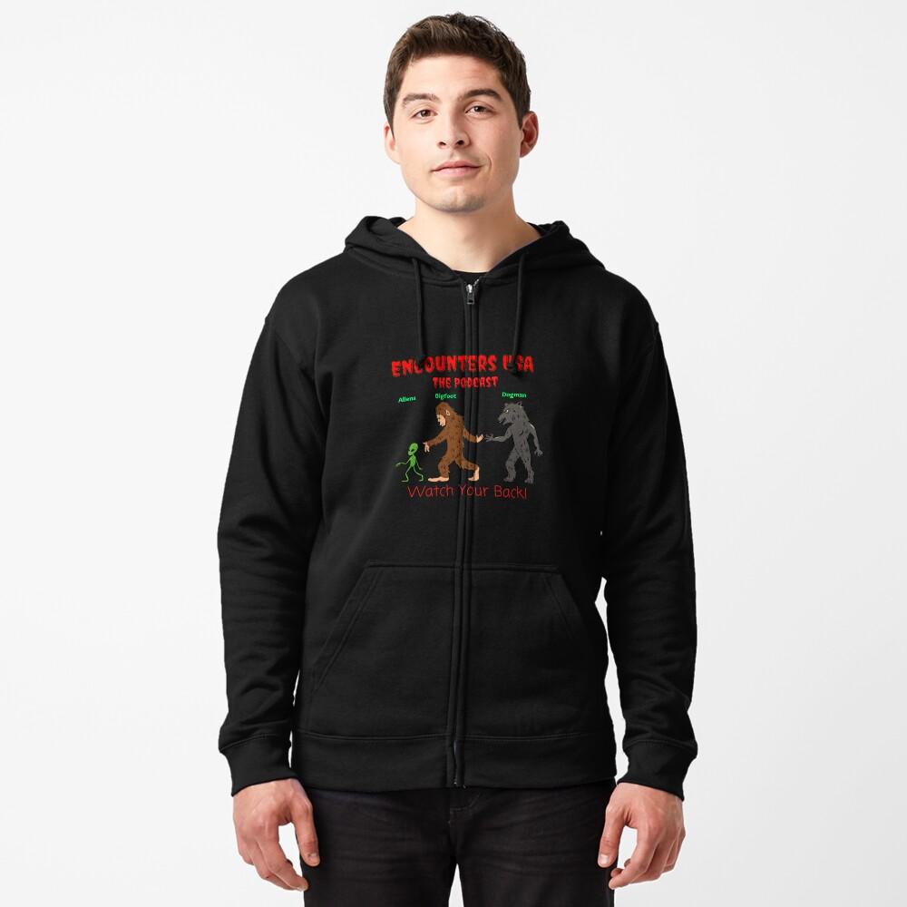 Alien, Bigfoot and Dogman Original Heinessight Merchandise Zipped Hoodie