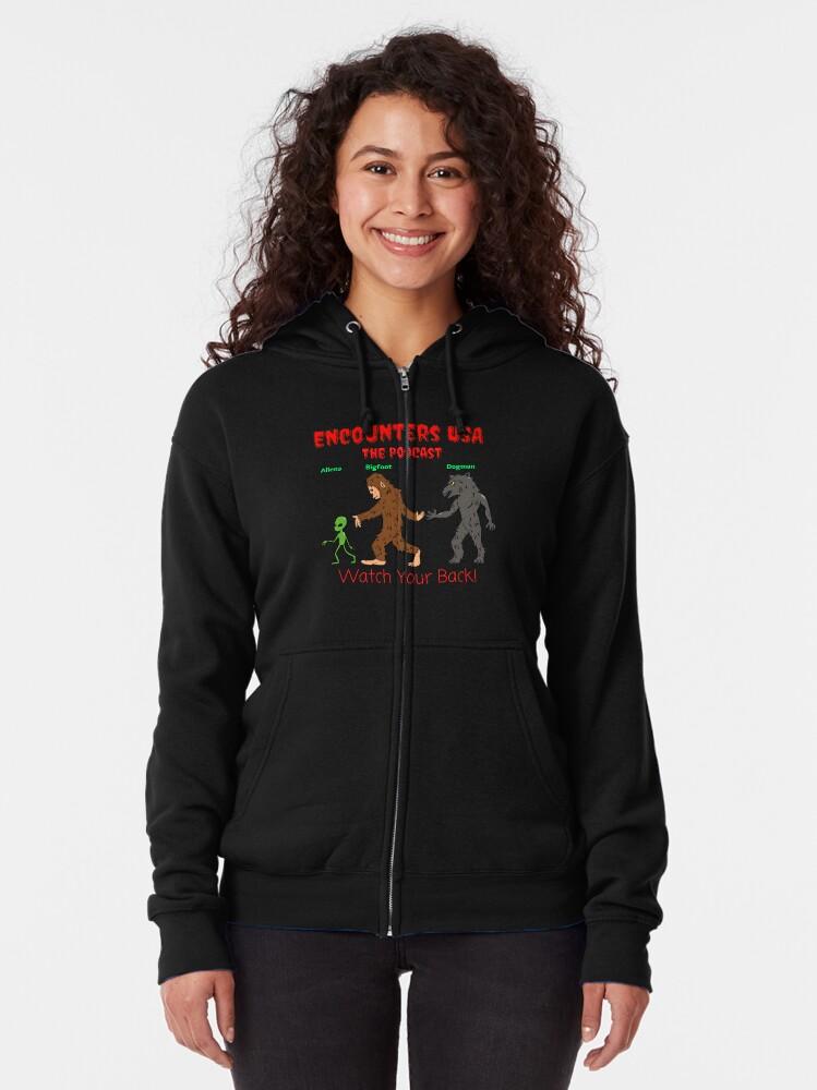 Alternate view of Alien, Bigfoot and Dogman Original Heinessight Merchandise Zipped Hoodie