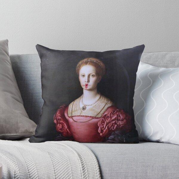 The Portrait of Lucrezia Panciatichi by Agnolo di Cosimo, aka Bronzino, c 1545  Throw Pillow