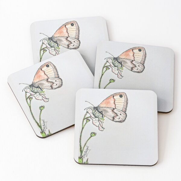 Butterfly on Blackberry Flower Coasters (Set of 4)