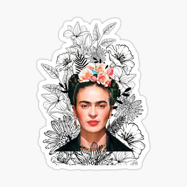 Imprimé Frida Kahlo, fleurs noires et blanches Sticker