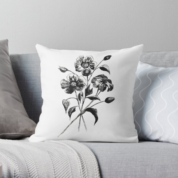 Bunch of Flowers Morning Glory Throw Pillow