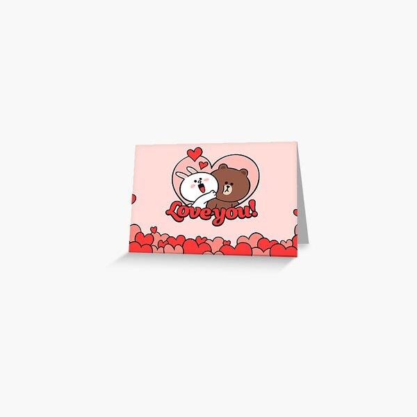 Adorable oso pardo y cony Valentine Tarjetas de felicitación