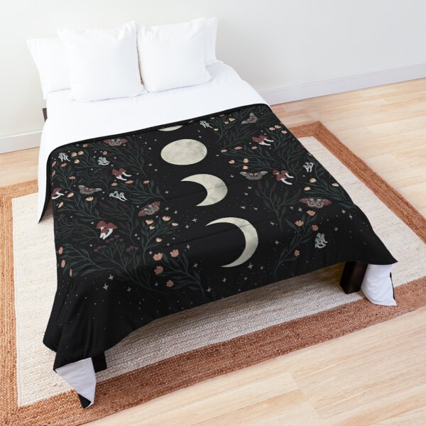 Moon Phases with Botanicals and Stars Comforter
