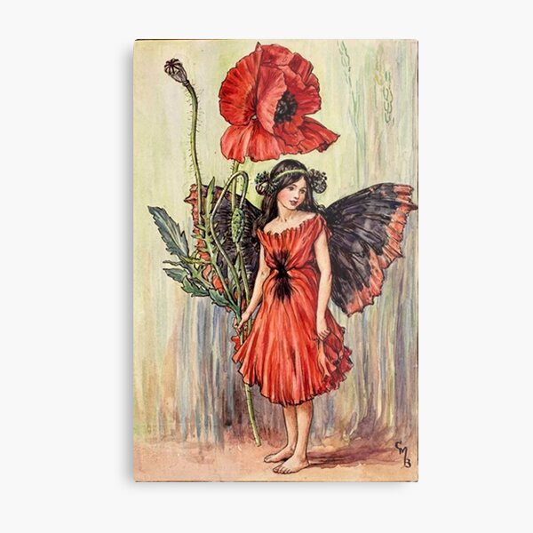 """""""The Poppy Fairy"""" by Cicely Mary Barker  Metal Print"""