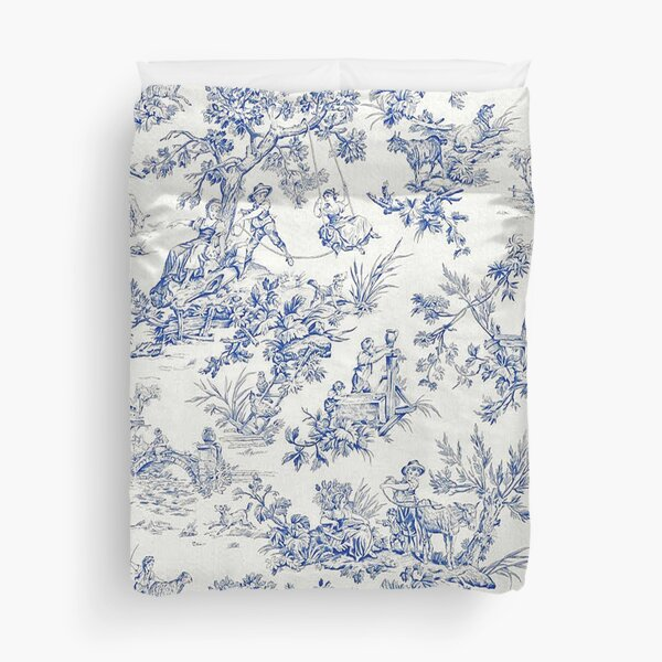 Beautiful Blue French Toile Duvet Cover