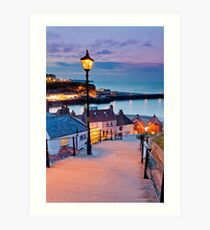 Whitby's 199 steps Art Print