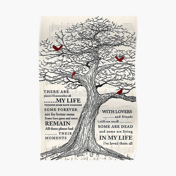 In My Life (Remastered 2009) And Cardinal Bird Gift Who Love Music Poster