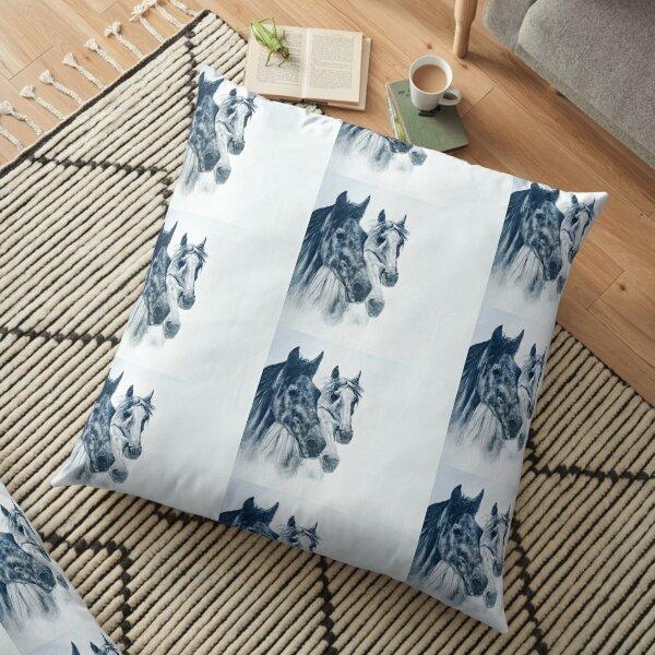 Black Horse, White Horse Floor Pillow