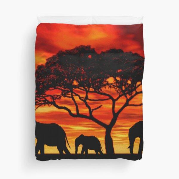 Acacia Elephant Sunset Duvet Cover