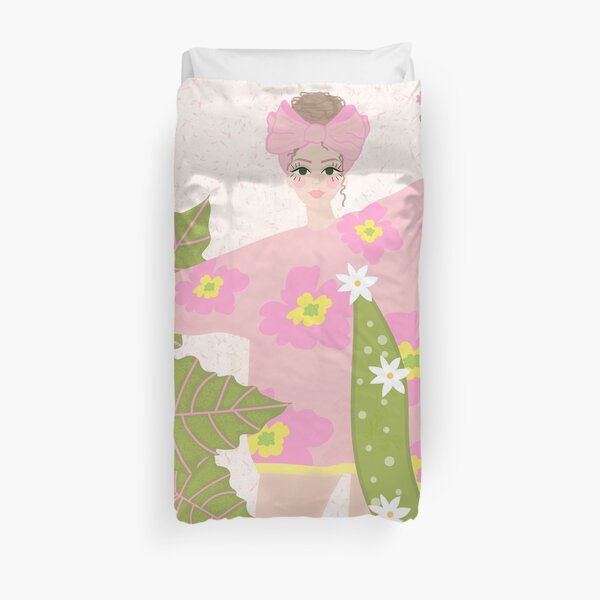 Dancing Girl In Pink With Plants Duvet Cover