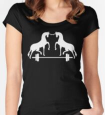 Unicorns Frolicking Over A Barbell Women's Fitted Scoop T-Shirt