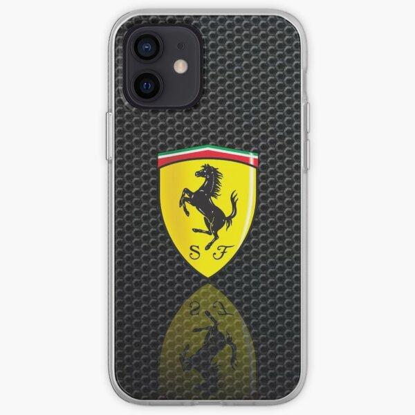 Scuderia Ferrari formula 1 logo on Leather texture iPhone Soft Case