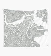 Boston Map - Light Grey Wall Tapestry