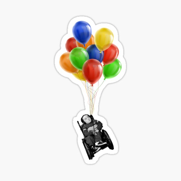 Eric the Actor Flying with Balloons Sticker