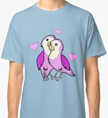 Valentine's Day Pink Love Birds with Hearts Classic T-Shirt