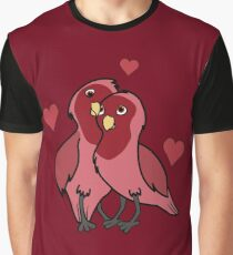 Valentine's Day Red Love Birds with Hearts Graphic T-Shirt