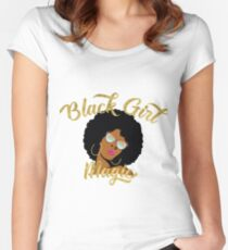 Black Girl Magic Graphic Women's Fitted Scoop T-Shirt